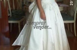 Vestido de novia de shantung y guipur talla 36-38